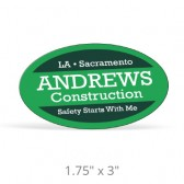 "Oval Hard Hat Decals - 1.75"" x 3"""
