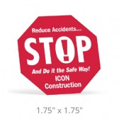 "Stop Sign Hard Hat Decals - 1.75"" x 1.75"""