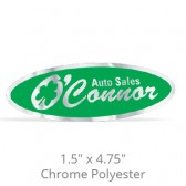 "1.5"" x 4.75"" Chrome Polyester Car-Cal Decals"