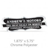 "1.875"" x 5.75"" Chrome Polyester Car-Cal Decals"