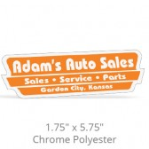 """1.75"""" x 5.75"""" Chrome Polyester Car-Cal Decals"""