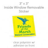 "Inside Window Removable Sticker - 3"" Square Clear Polyester"