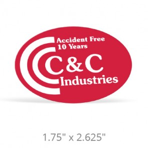 """Oval Hard Hat Decals - 1.75"""" x 2.625"""""""