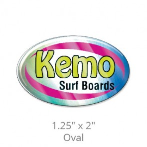 """Domed Decals with Permanent Adhesive - 1.25"""" x 2"""" Oval"""