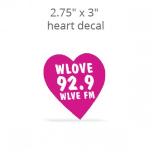 "2.75"" x 3"" Custom Print Heart Shaped Decal & Stickers"