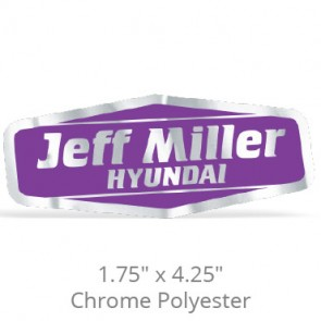 "1.75"" x 4.25"" Chrome Polyester Car-Cal Decals"