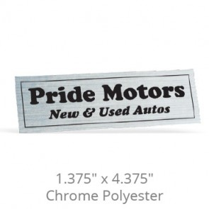 "1.375"" x 4.375"" Chrome Polyester Car-Cal Decals"