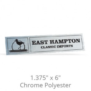"1.375"" x 6"" Chrome Polyester Car-Cal Decals"