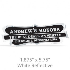"1.875"" x 5.75"" White Reflective Car-Cal Decals"