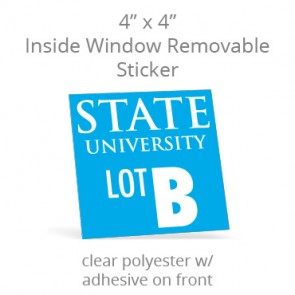 "Inside Window Removable Sticker - 4"" Square Clear Polyester"