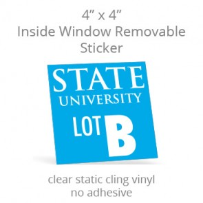 "Inside Window Removable Sticker - 4"" Square Static Cling"