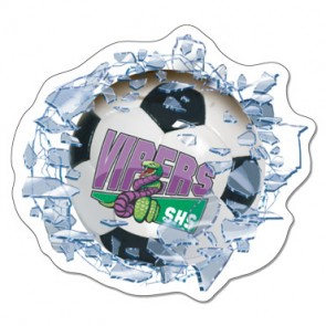 Shattered Glass Soccer Window Decal